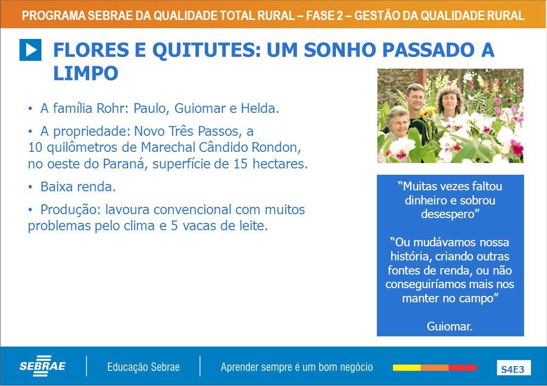 PROGRAMA SEBRAE DA QUALIDADE TOTAL RURAL – FASE 2 – GESTÃO DA QUALIDADE RURAL FLORES E QUITUTES: UM SONHO PASSADO A LIMPO S4E3 A família Rohr: Paulo, Guiomar e Helda.