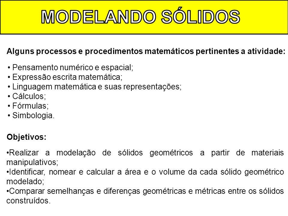Alguns processos e procedimentos matemáticos pertinentes a atividade: Pensamento numérico e espacial; Expressão escrita matemática; Linguagem matemáti