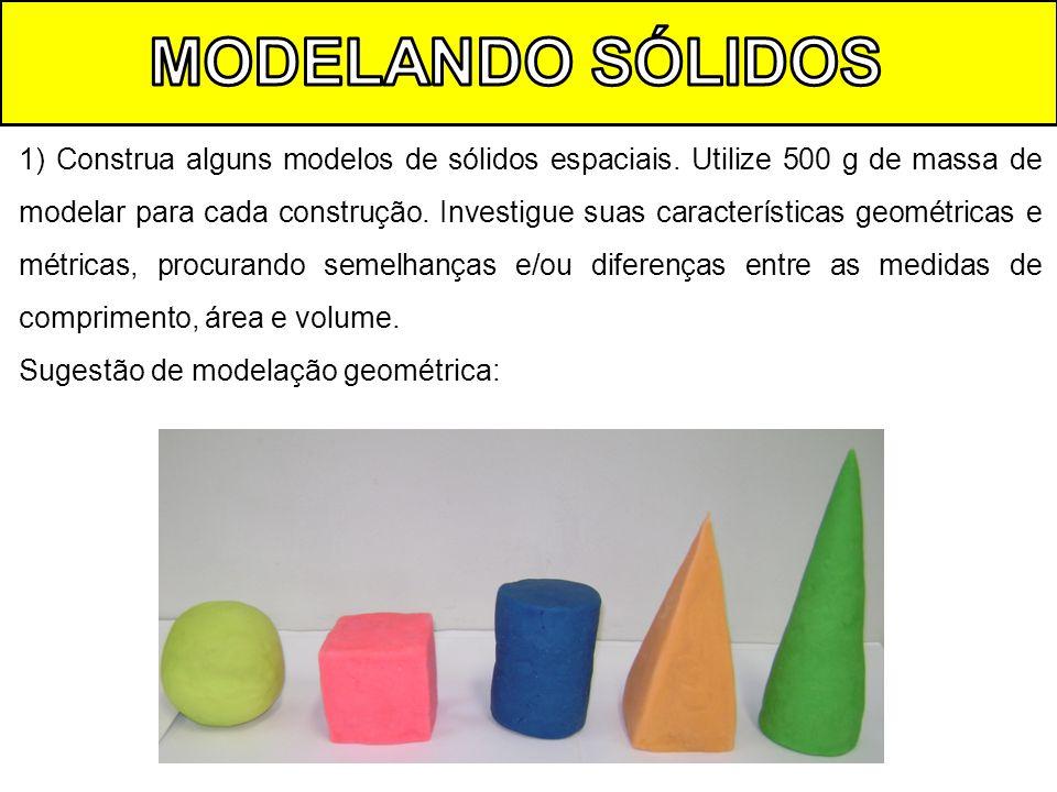1) Construa alguns modelos de sólidos espaciais. Utilize 500 g de massa de modelar para cada construção. Investigue suas características geométricas e