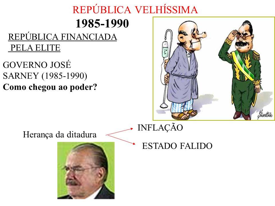 REPÚBLICA VELHÍSSIMA 1985-1990 REPÚBLICA FINANCIADA PELA ELITE GOVERNO JOSÉ SARNEY (1985-1990) Como chegou ao poder? Herança da ditadura INFLAÇÃO ESTA
