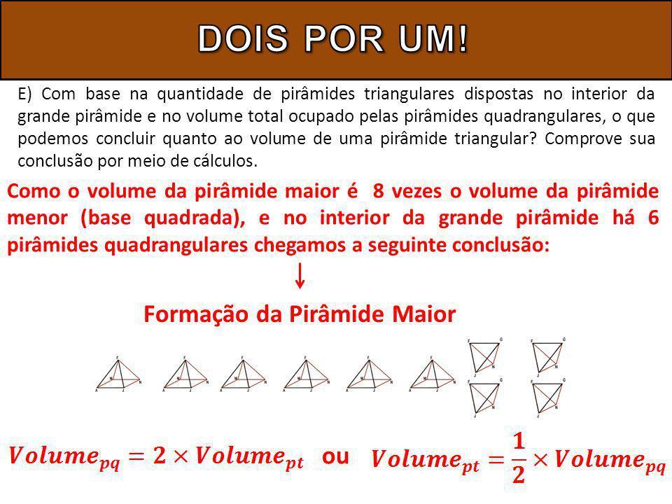 E) Com base na quantidade de pirâmides triangulares dispostas no interior da grande pirâmide e no volume total ocupado pelas pirâmides quadrangulares, o que podemos concluir quanto ao volume de uma pirâmide triangular.