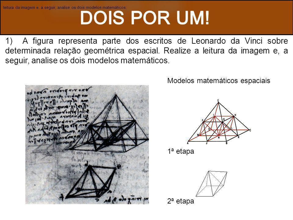 1) A figura representa parte dos escritos de Leonardo da Vinci sobre determinada relação geométrica espacial. Realize a leitura da imagem e, a seguir,