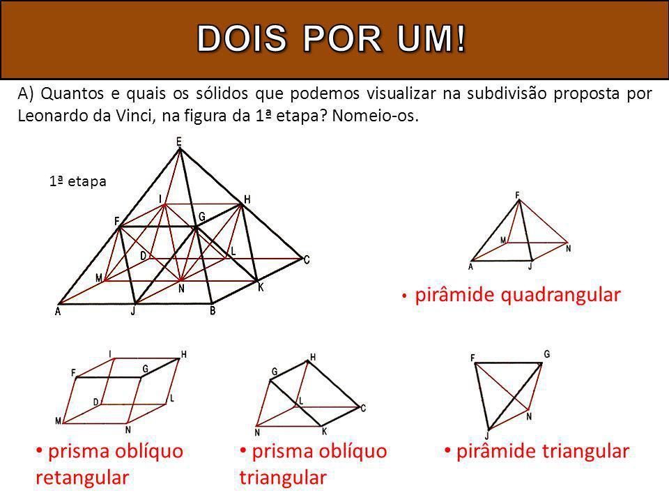 A) Quantos e quais os sólidos que podemos visualizar na subdivisão proposta por Leonardo da Vinci, na figura da 1ª etapa? Nomeio-os. pirâmide quadrang