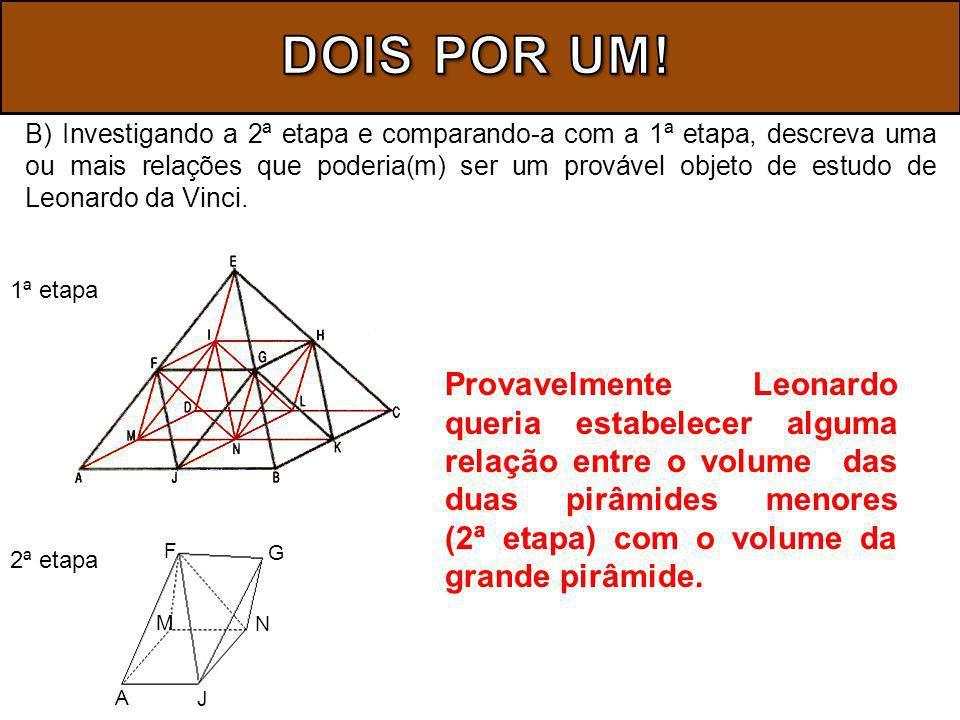B) Investigando a 2ª etapa e comparando-a com a 1ª etapa, descreva uma ou mais relações que poderia(m) ser um provável objeto de estudo de Leonardo da Vinci.
