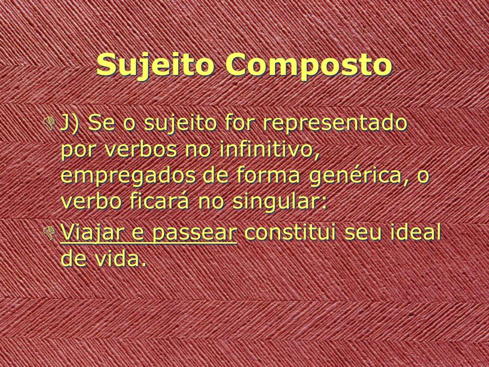 Sujeito Composto DJ) Se o sujeito for representado por verbos no infinitivo, empregados de forma genérica, o verbo ficará no singular: DViajar e passe