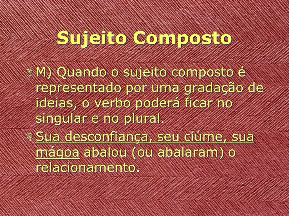 Sujeito Composto DM) Quando o sujeito composto é representado por uma gradação de ideias, o verbo poderá ficar no singular e no plural. DSua desconfia