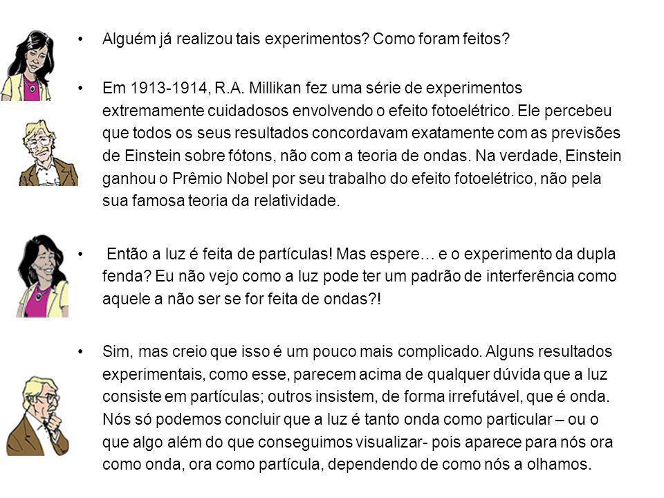 Alguém já realizou tais experimentos? Como foram feitos? Em 1913-1914, R.A. Millikan fez uma série de experimentos extremamente cuidadosos envolvendo