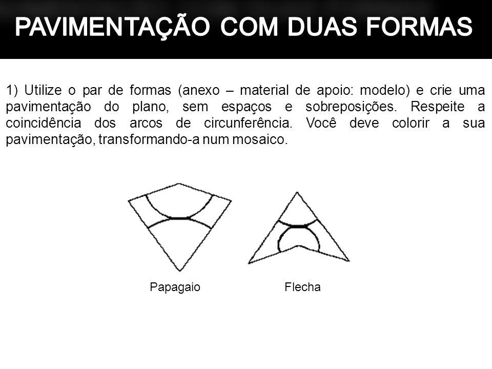 1) Utilize o par de formas (anexo – material de apoio: modelo) e crie uma pavimentação do plano, sem espaços e sobreposições. Respeite a coincidência
