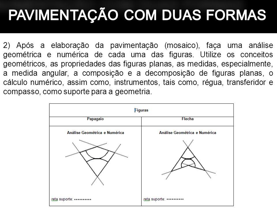 2) Após a elaboração da pavimentação (mosaico), faça uma análise geométrica e numérica de cada uma das figuras. Utilize os conceitos geométricos, as p