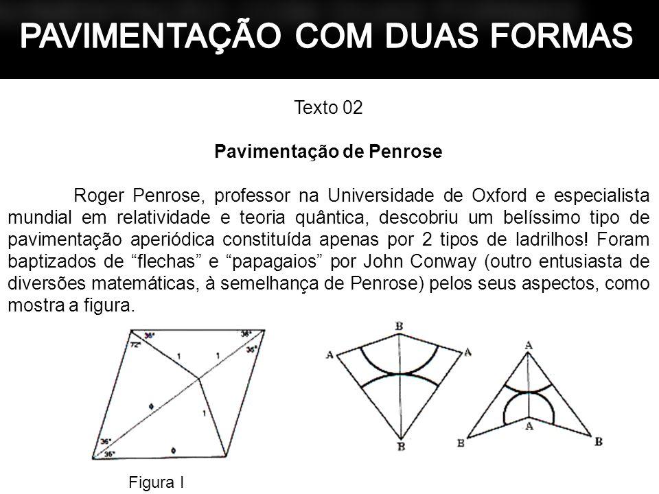 Texto 02 Pavimentação de Penrose Roger Penrose, professor na Universidade de Oxford e especialista mundial em relatividade e teoria quântica, descobri