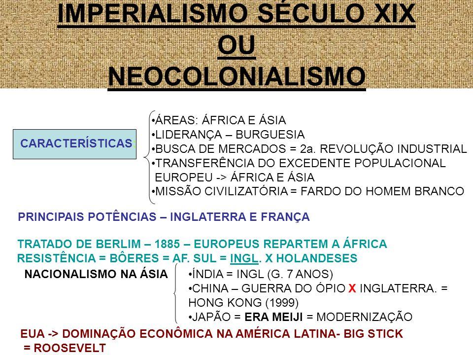 COLONIALISMO SÉCULO XVI BUSCA DE METAIS ESTADO ABSOLUTISTA AMÉRICA CATEQUIZAÇÃO IMPERIALISMO SÉCULO XIX MERCADOS BURGUESIA ÁFRICA E ÁSIA MISSÃO CIVILIZATÓRIA