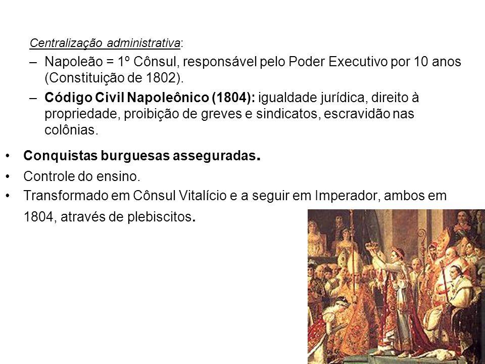 Centralização administrativa: –Napoleão = 1º Cônsul, responsável pelo Poder Executivo por 10 anos (Constituição de 1802). –Código Civil Napoleônico (1