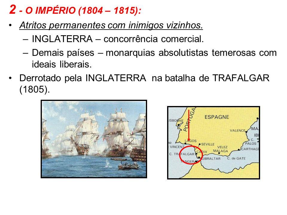 2 - O IMPÉRIO (1804 – 1815): Atritos permanentes com inimigos vizinhos. –INGLATERRA – concorrência comercial. –Demais países – monarquias absolutistas
