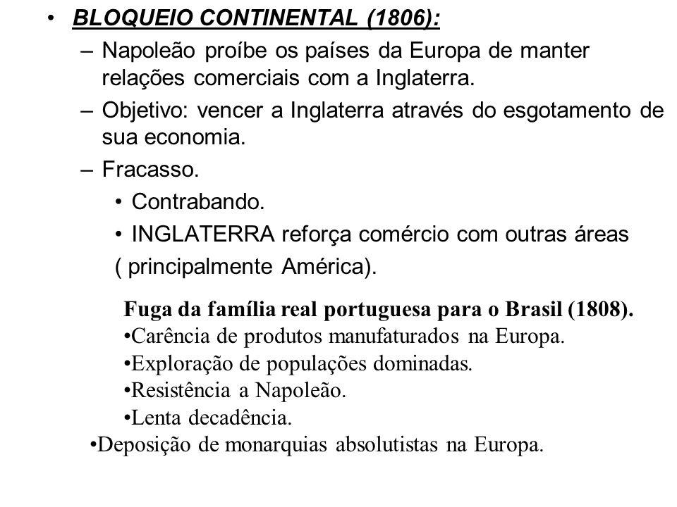 BLOQUEIO CONTINENTAL (1806): –Napoleão proíbe os países da Europa de manter relações comerciais com a Inglaterra. –Objetivo: vencer a Inglaterra atrav