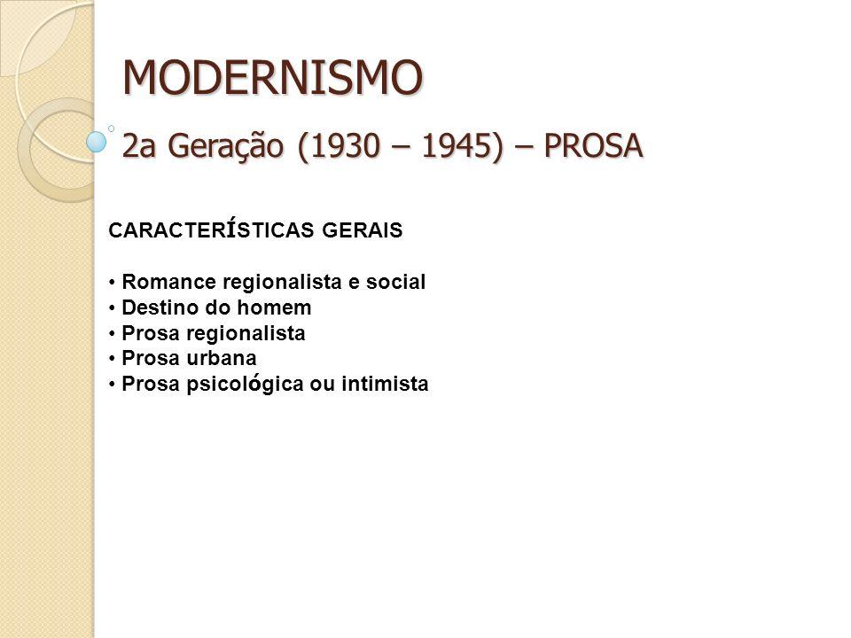 MODERNISMO 2a Geração (1930 – 1945) – PROSA CARACTER Í STICAS GERAIS Romance regionalista e social Destino do homem Prosa regionalista Prosa urbana Pr