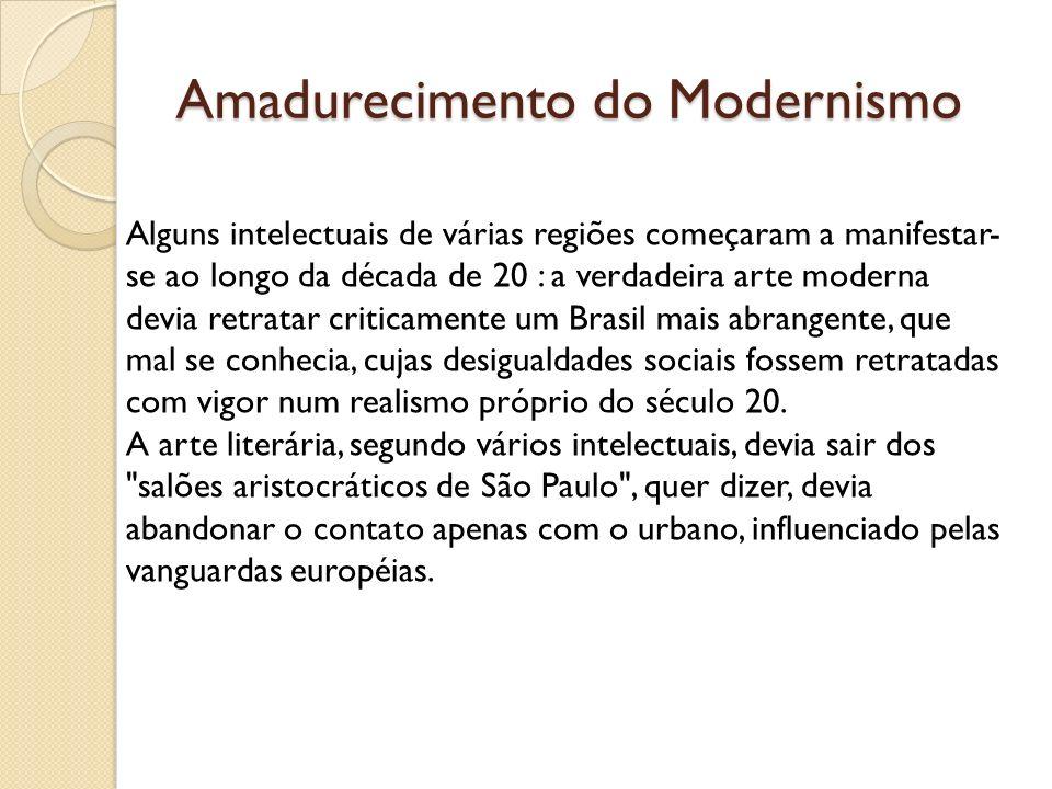 Amadurecimento do Modernismo Alguns intelectuais de várias regiões começaram a manifestar- se ao longo da década de 20 : a verdadeira arte moderna dev