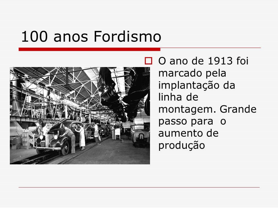 100 anos Fordismo O ano de 1913 foi marcado pela implantação da linha de montagem. Grande passo para o aumento de produção