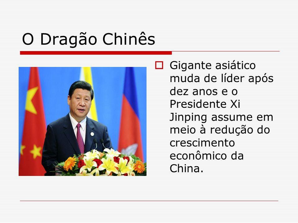 O Dragão Chinês Gigante asiático muda de líder após dez anos e o Presidente Xi Jinping assume em meio à redução do crescimento econômico da China.