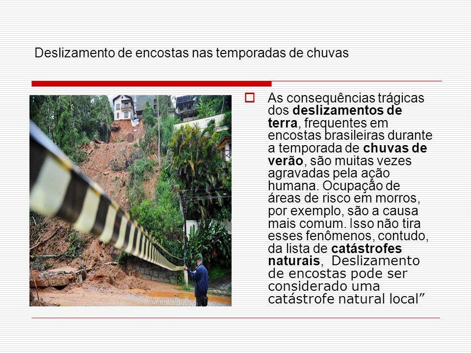 Deslizamento de encostas nas temporadas de chuvas As consequências trágicas dos deslizamentos de terra, frequentes em encostas brasileiras durante a t