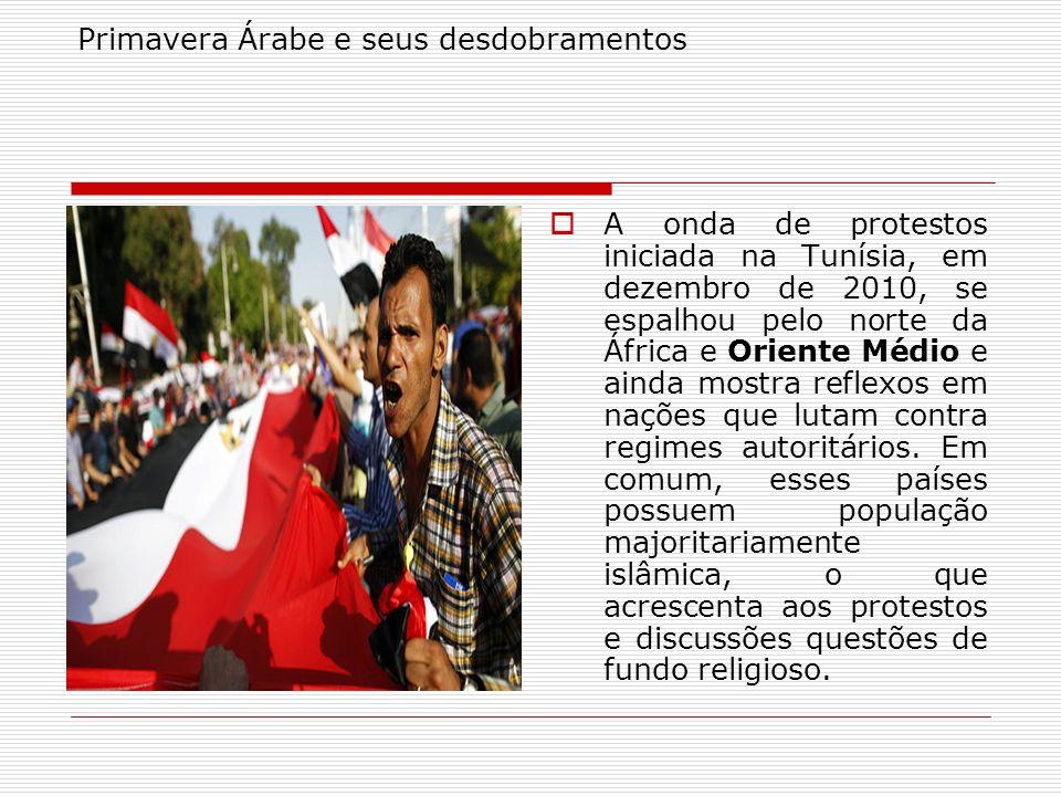 Primavera Árabe e seus desdobramentos A onda de protestos iniciada na Tunísia, em dezembro de 2010, se espalhou pelo norte da África e Oriente Médio e