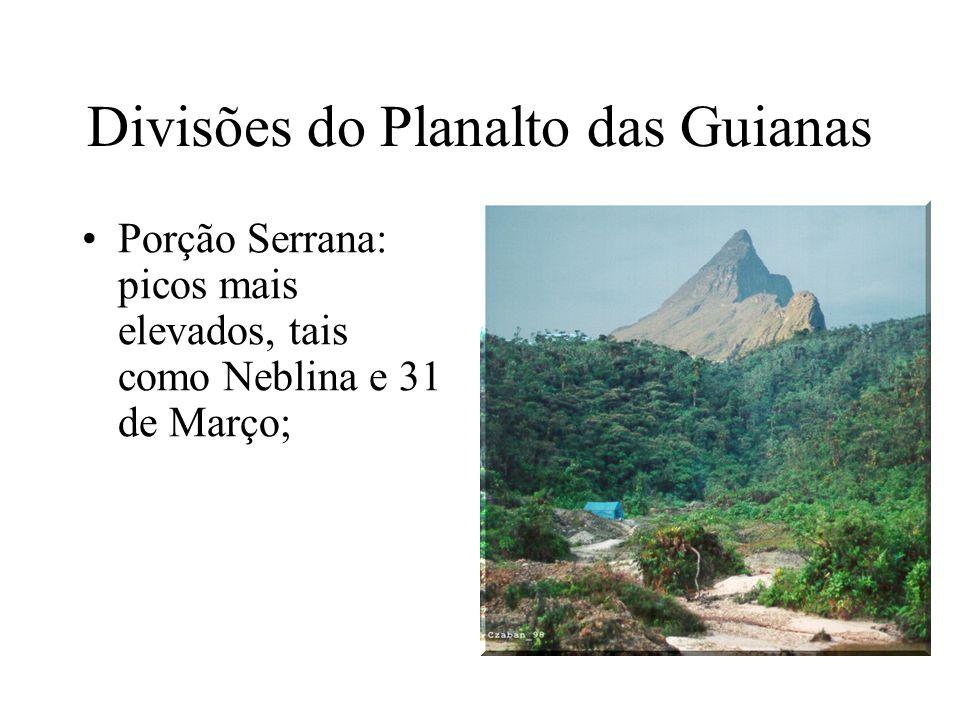 Divisões do Planalto das Guianas Porção Serrana: picos mais elevados, tais como Neblina e 31 de Março;