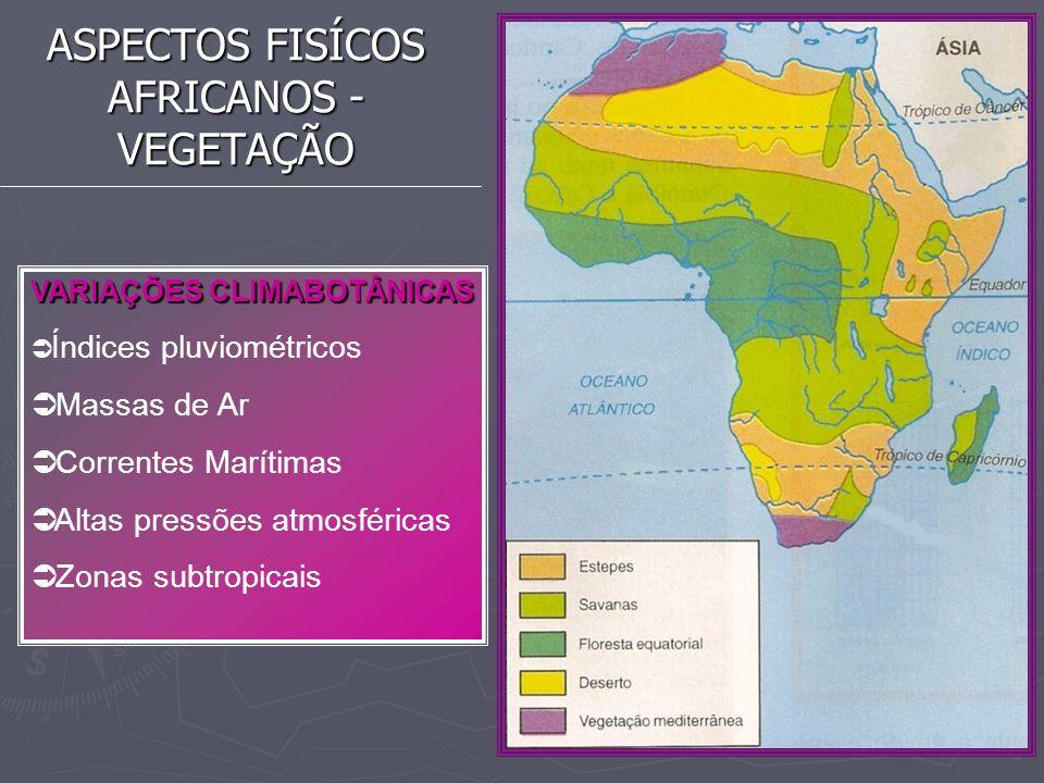 ASPECTOS FISÍCOS AFRICANOS - VEGETAÇÃO VARIAÇÕES CLIMABOTÂNICAS Índices pluviométricos Massas de Ar Correntes Marítimas Altas pressões atmosféricas Zo