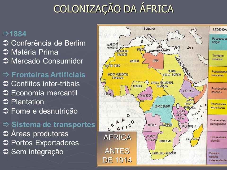 COLONIZAÇÃO DA ÁFRICA AFRICA ANTES DE 1914 1884 Conferência de Berlim Matéria Prima Mercado Consumidor Fronteiras Artificiais Conflitos inter-tribais
