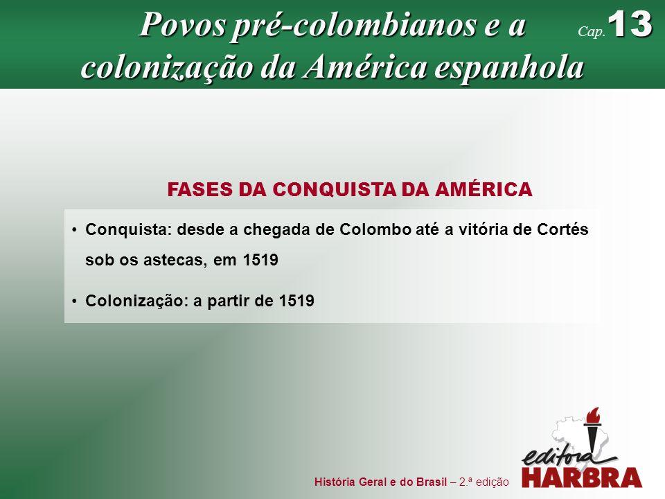 História Geral e do Brasil – 2.ª edição FASES DA CONQUISTA DA AMÉRICA Conquista: desde a chegada de Colombo até a vitória de Cortés sob os astecas, em