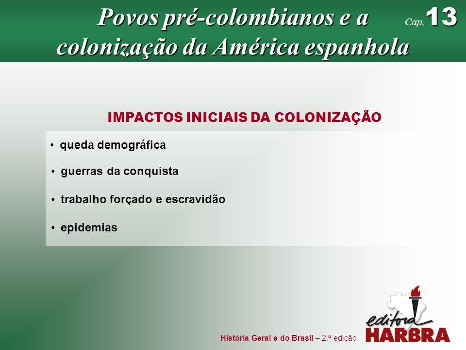 História Geral e do Brasil – 2.ª edição IMPACTOS INICIAIS DA COLONIZAÇÃO queda demográfica guerras da conquista trabalho forçado e escravidão epidemia