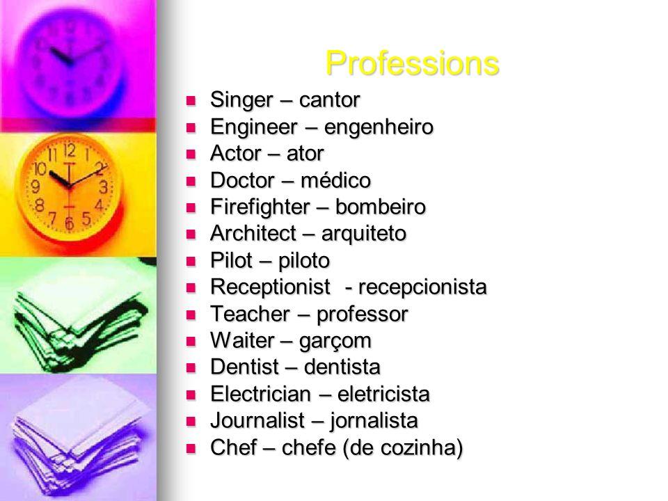 Professions Singer – cantor Singer – cantor Engineer – engenheiro Engineer – engenheiro Actor – ator Actor – ator Doctor – médico Doctor – médico Fire