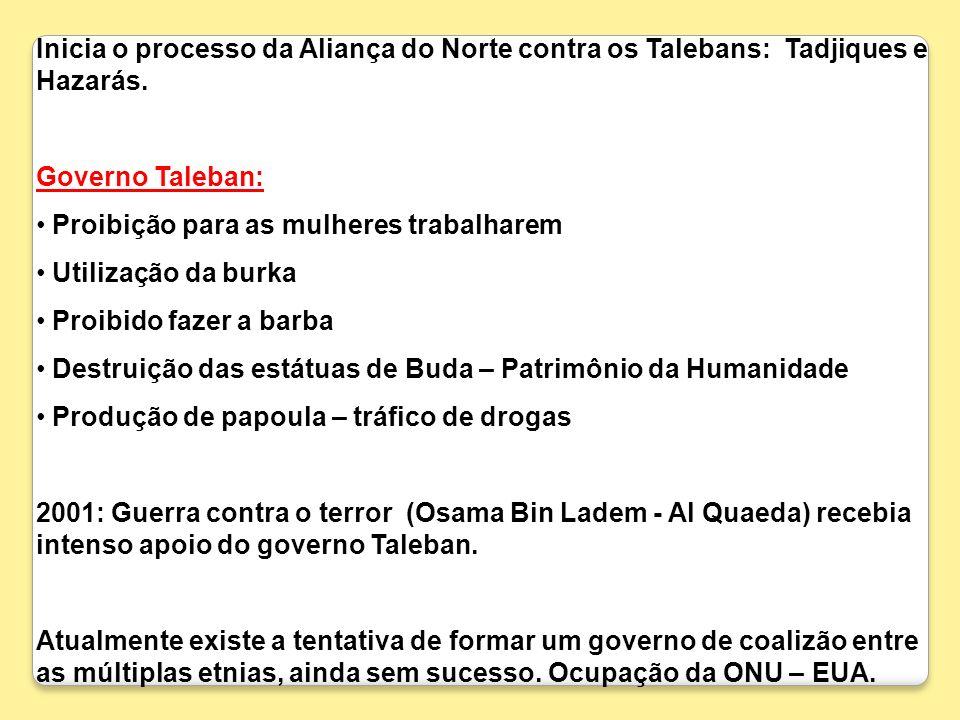 Inicia o processo da Aliança do Norte contra os Talebans: Tadjiques e Hazarás. Governo Taleban: Proibição para as mulheres trabalharem Utilização da b