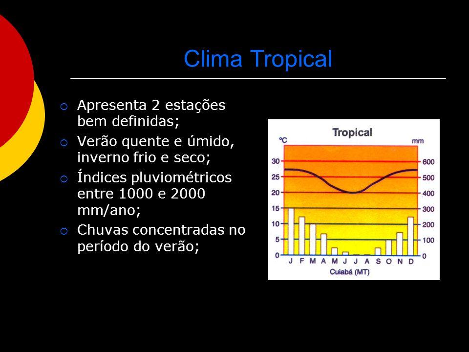 Clima Tropical Apresenta 2 estações bem definidas; Verão quente e úmido, inverno frio e seco; Índices pluviométricos entre 1000 e 2000 mm/ano; Chuvas