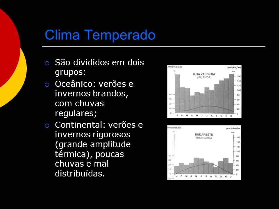 Clima Temperado São divididos em dois grupos: Oceânico: verões e invernos brandos, com chuvas regulares; Continental: verões e invernos rigorosos (gra