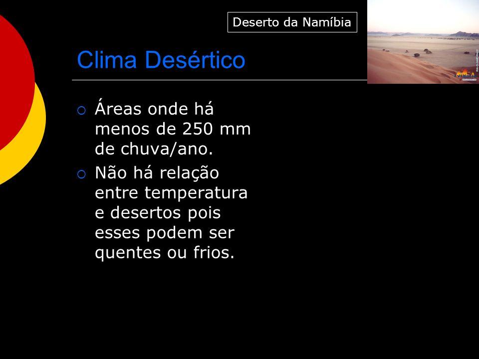 Clima Desértico Áreas onde há menos de 250 mm de chuva/ano. Não há relação entre temperatura e desertos pois esses podem ser quentes ou frios. Deserto