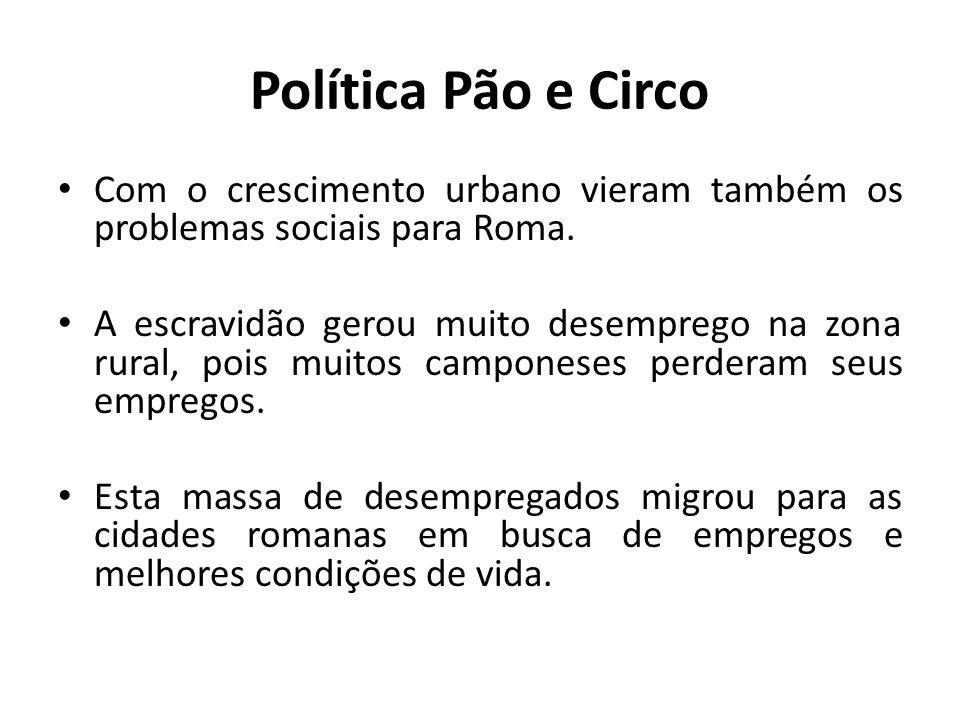 Com o crescimento urbano vieram também os problemas sociais para Roma. A escravidão gerou muito desemprego na zona rural, pois muitos camponeses perde