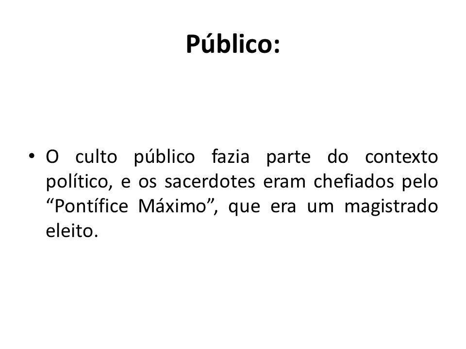 Público: O culto público fazia parte do contexto político, e os sacerdotes eram chefiados pelo Pontífice Máximo, que era um magistrado eleito.