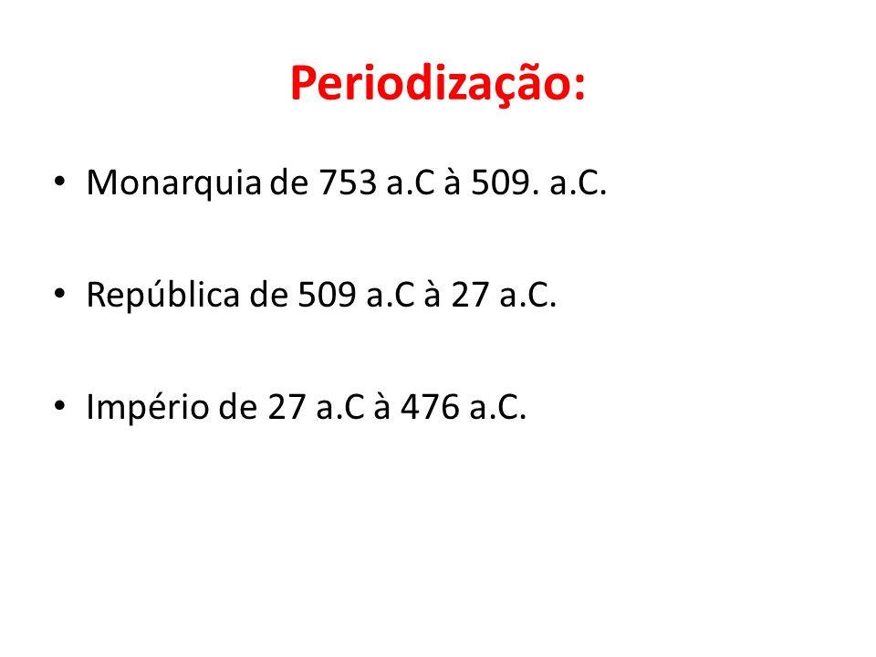 Periodização: Monarquia de 753 a.C à 509. a.C. República de 509 a.C à 27 a.C. Império de 27 a.C à 476 a.C.