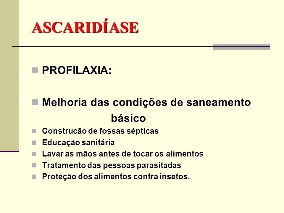 ASCARIDÍASE (Lombriga) Causador: Ascaris lumbricoides Sintomas: Dor de Barriga Falta de Apetite Obstrução Intestinal