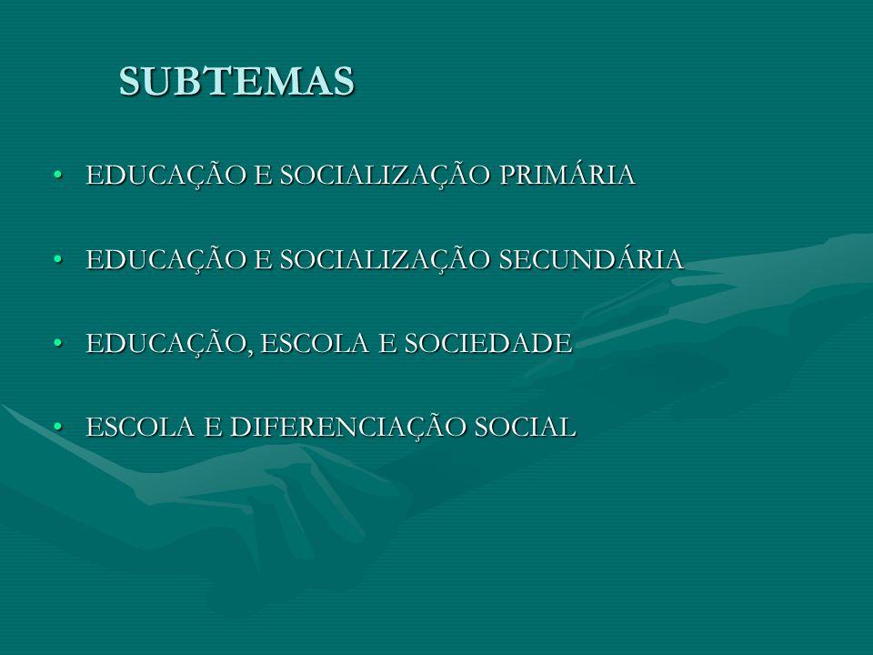 SUBTEMAS EDUCAÇÃO E SOCIALIZAÇÃO PRIMÁRIAEDUCAÇÃO E SOCIALIZAÇÃO PRIMÁRIA EDUCAÇÃO E SOCIALIZAÇÃO SECUNDÁRIAEDUCAÇÃO E SOCIALIZAÇÃO SECUNDÁRIA EDUCAÇÃ