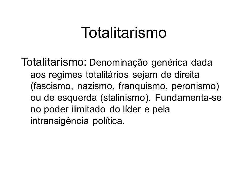 Características Totalitarismo ISMOISMO Personal Militar Anti-Comun Nacional Rac Unipartidar Característica do Nazismo Alemão Exceto no Stalisnismo Soviético