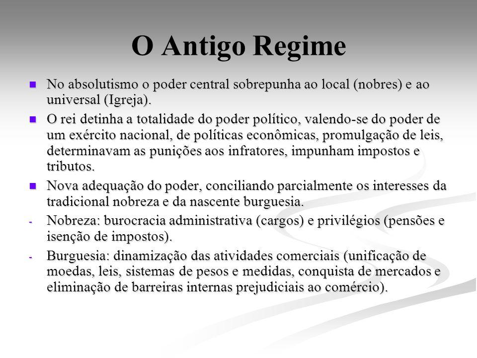 O Antigo Regime No absolutismo o poder central sobrepunha ao local (nobres) e ao universal (Igreja). No absolutismo o poder central sobrepunha ao loca