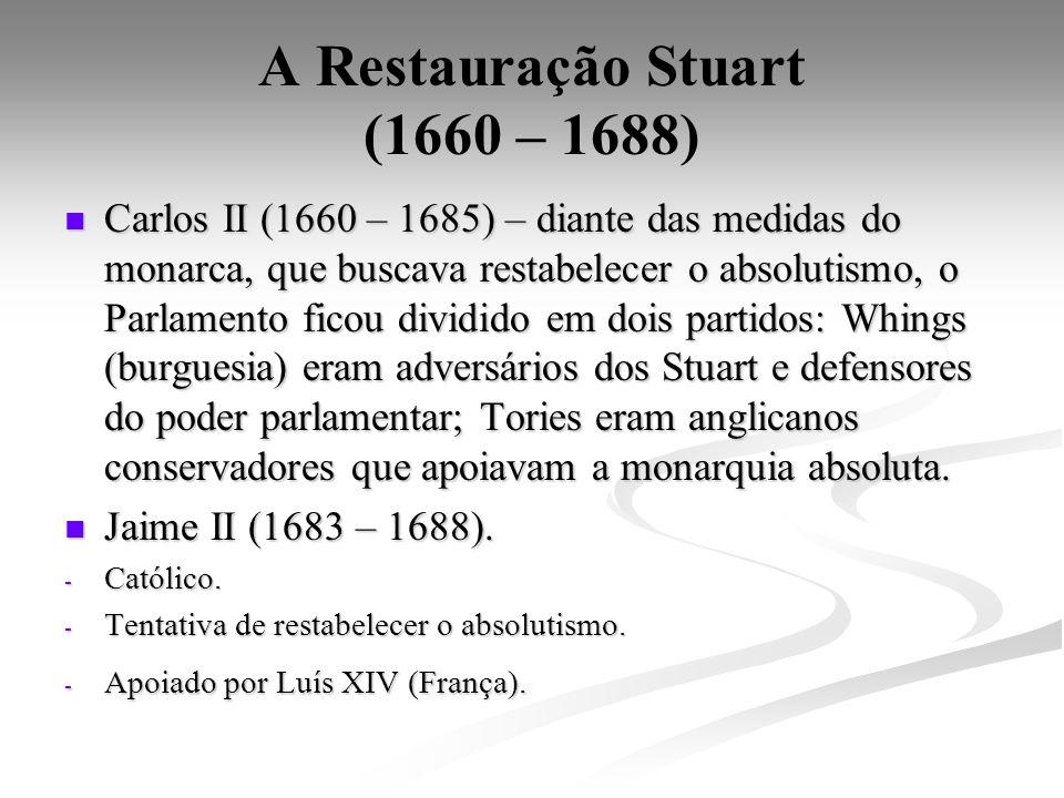 A Restauração Stuart (1660 – 1688) Carlos II (1660 – 1685) – diante das medidas do monarca, que buscava restabelecer o absolutismo, o Parlamento ficou