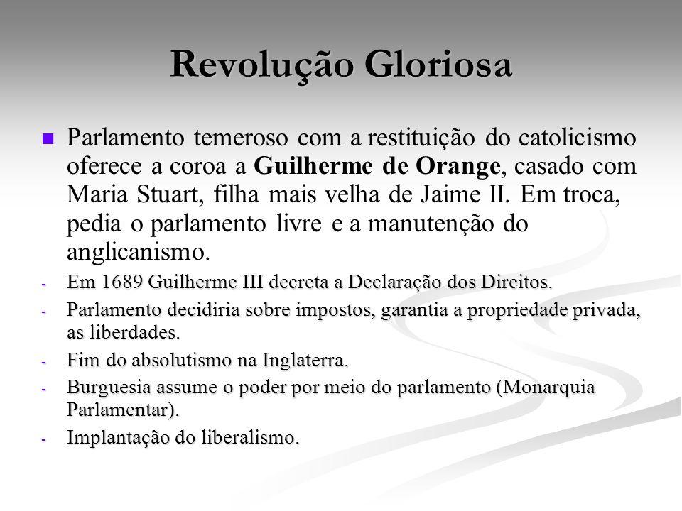 Revolução Gloriosa Parlamento temeroso com a restituição do catolicismo oferece a coroa a Guilherme de Orange, casado com Maria Stuart, filha mais vel