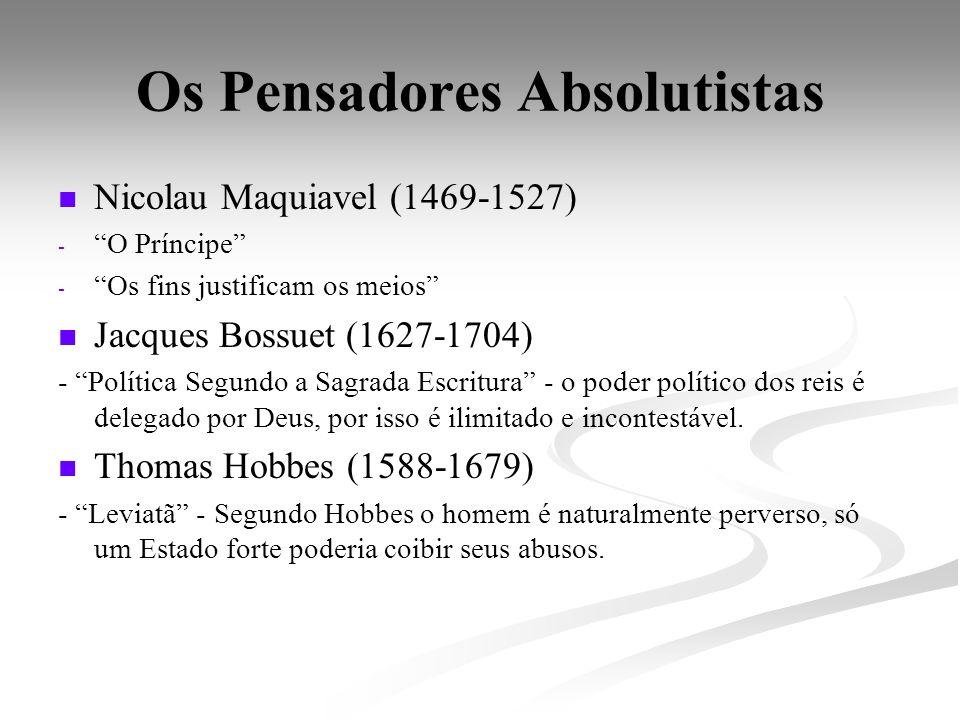 Os Pensadores Absolutistas Nicolau Maquiavel (1469-1527) - - O Príncipe - - Os fins justificam os meios Jacques Bossuet (1627-1704) - Política Segundo