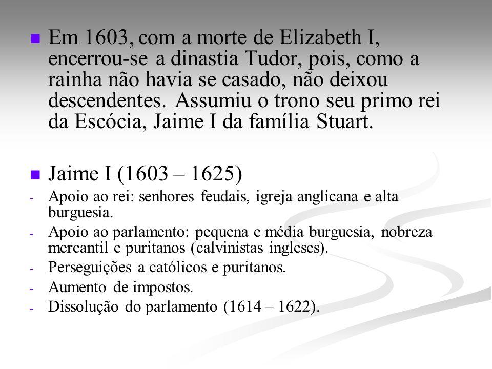 Em 1603, com a morte de Elizabeth I, encerrou-se a dinastia Tudor, pois, como a rainha não havia se casado, não deixou descendentes. Assumiu o trono s