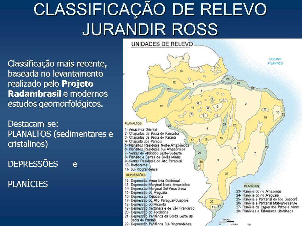 CLASSIFICAÇÃO DE RELEVO JURANDIR ROSS Classificação mais recente, baseada no levantamento realizado pelo Projeto Radambrasil e modernos estudos geomor