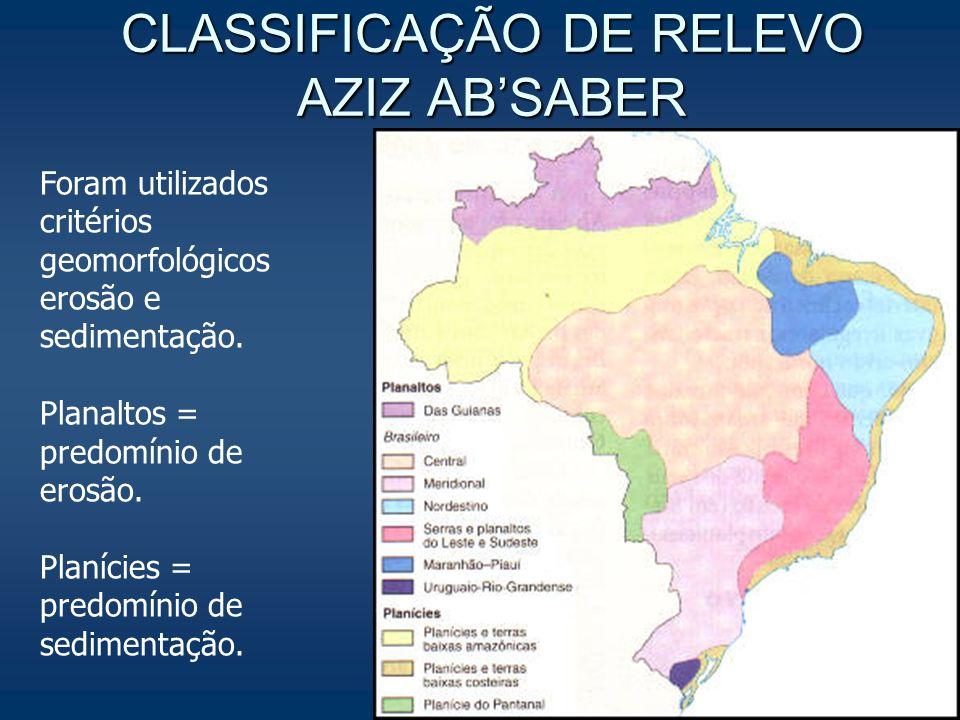 CLASSIFICAÇÃO DE RELEVO AZIZ ABSABER Foram utilizados critérios geomorfológicos erosão e sedimentação. Planaltos = predomínio de erosão. Planícies = p