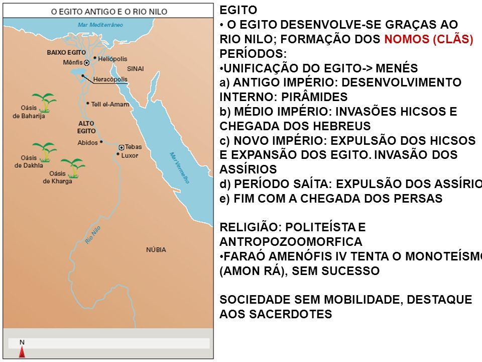EGITO O EGITO DESENVOLVE-SE GRAÇAS AO RIO NILO; FORMAÇÃO DOS NOMOS (CLÃS) PERÍODOS: UNIFICAÇÃO DO EGITO-> MENÉS a) ANTIGO IMPÉRIO: DESENVOLVIMENTO INTERNO: PIRÂMIDES b) MÉDIO IMPÉRIO: INVASÕES HICSOS E CHEGADA DOS HEBREUS c) NOVO IMPÉRIO: EXPULSÃO DOS HICSOS E EXPANSÃO DOS EGITO.