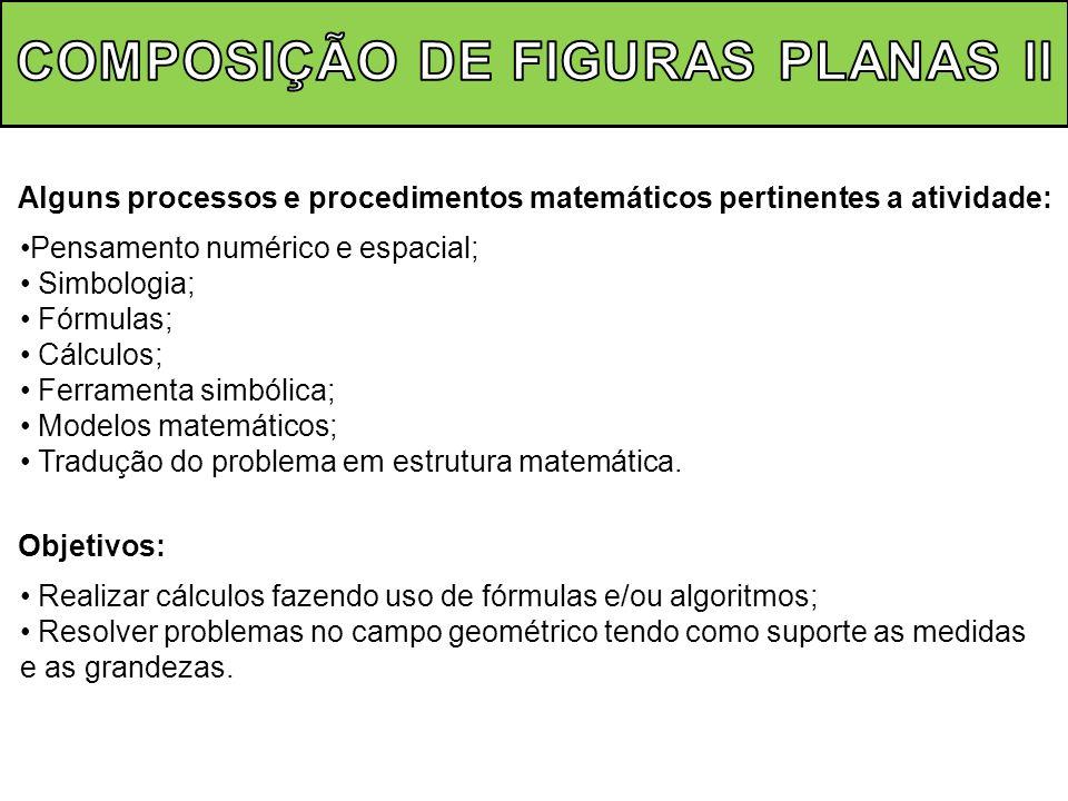 Alguns processos e procedimentos matemáticos pertinentes a atividade: Pensamento numérico e espacial; Simbologia; Fórmulas; Cálculos; Ferramenta simbó