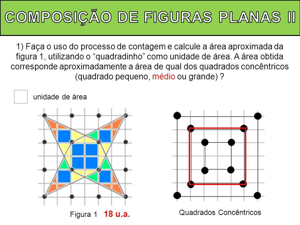 2) Calcule, utilizando fórmulas e/ou algoritmos a área da figura 1, sendo o quadradinho a unidade de área.